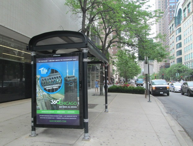 360 Chicago ad on bus shelter