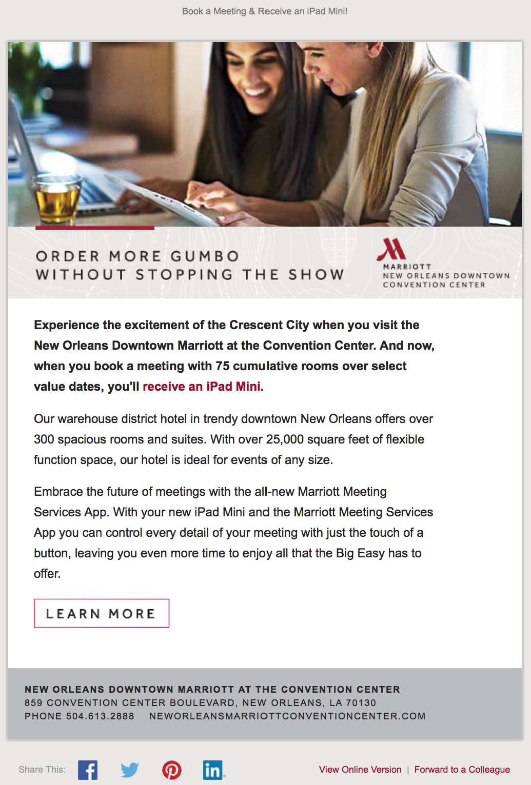 New Orleans Marriott e-mail ad